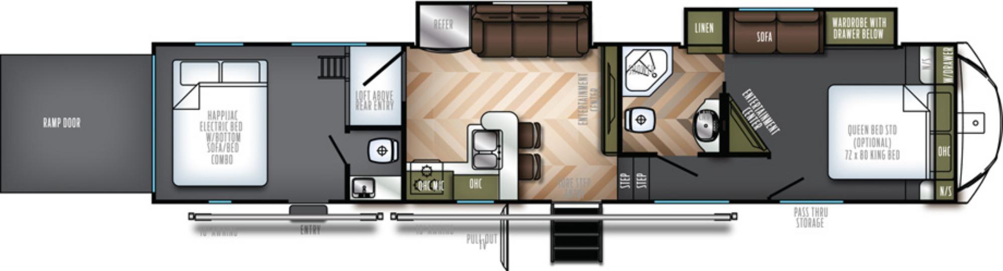 View Floor Plan for 2019 FOREST RIVER VENGEANCE 421V13
