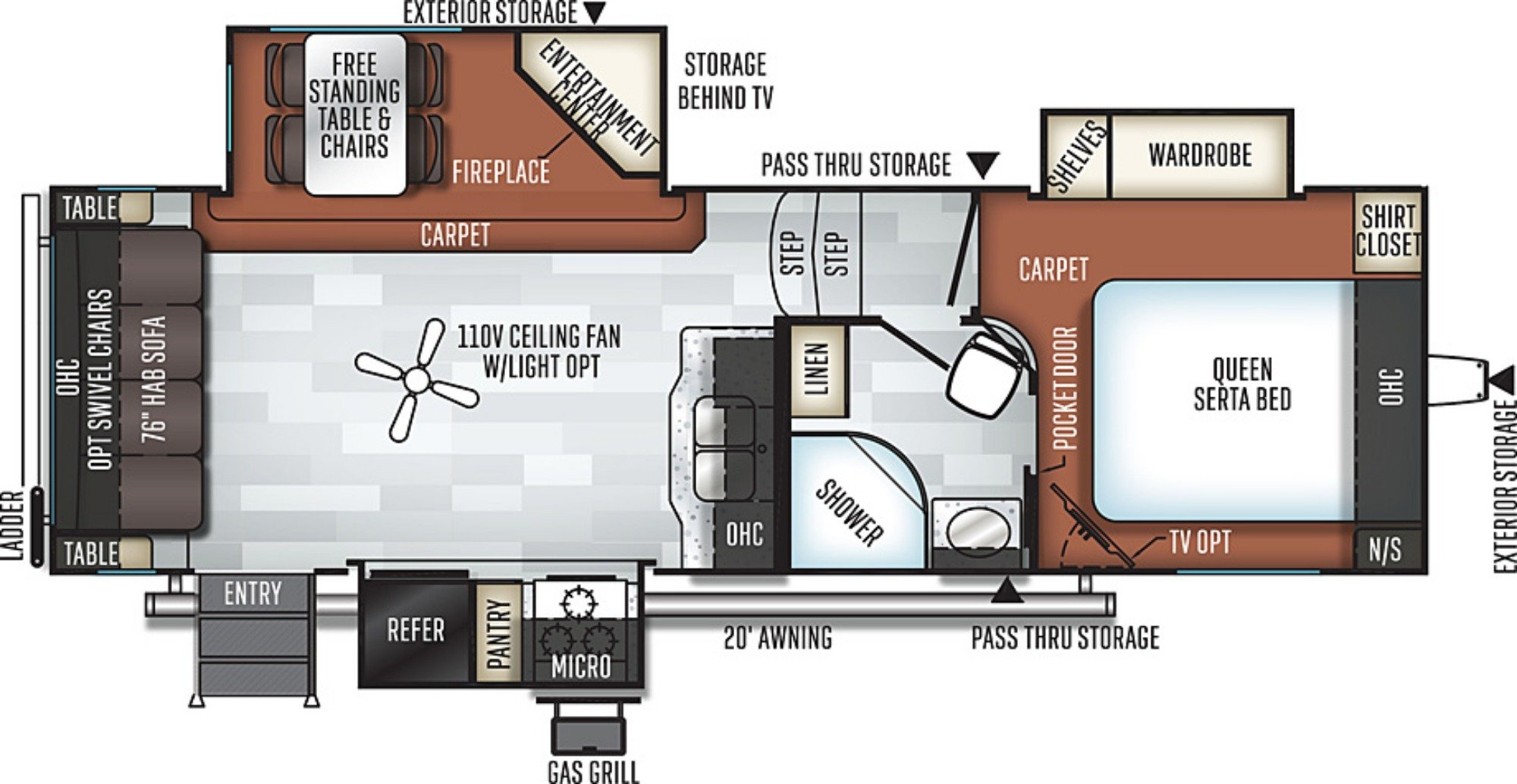 View Floor Plan for 2019 FOREST RIVER ROCKWOOD ULTRA LITE 2620WS