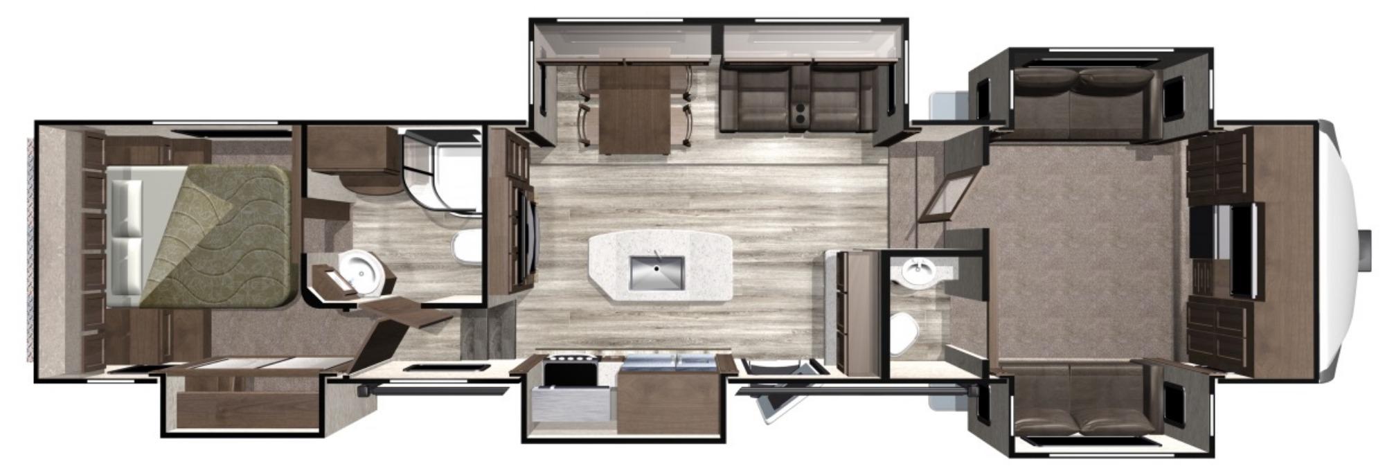 View Floor Plan for 2020 HIGHLAND RIDGE OPEN RANGE 376FBH