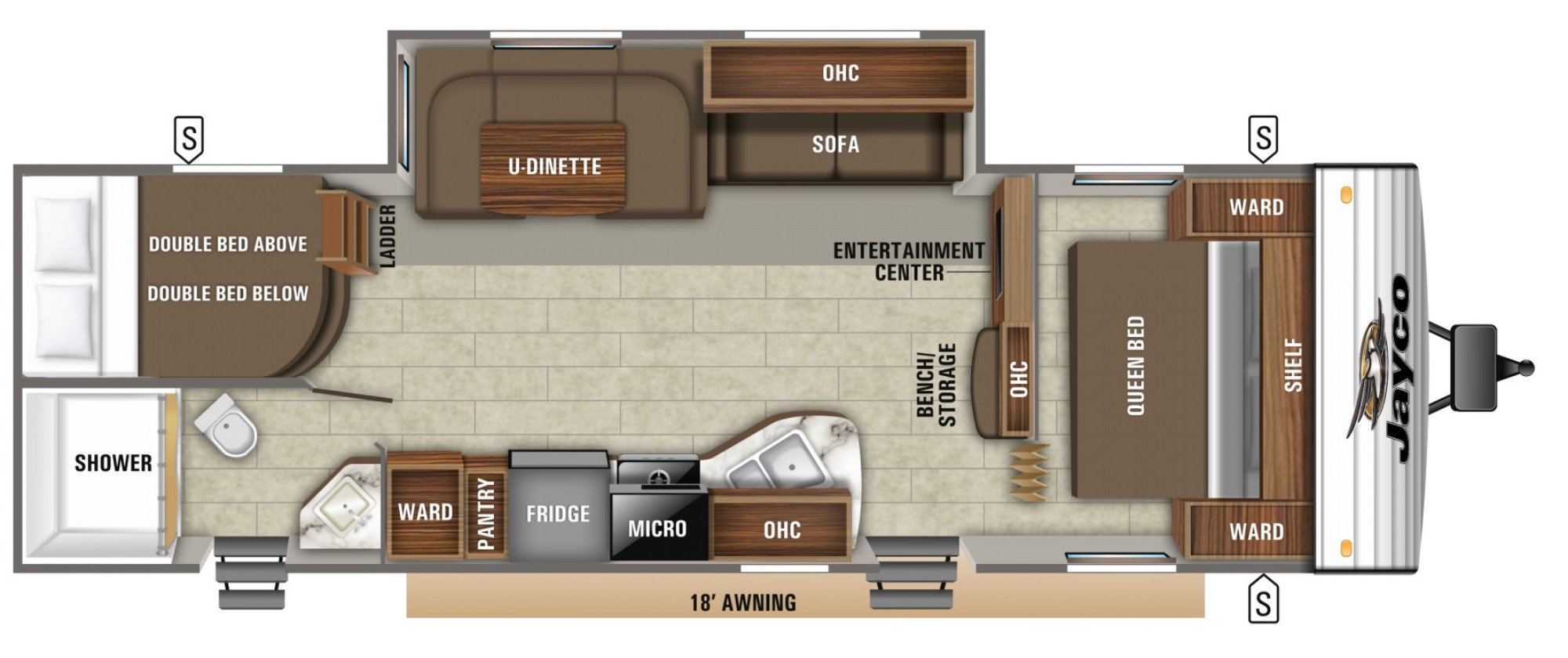 View Floor Plan for 2020 JAYCO JAY FLIGHT SLX 287BHS