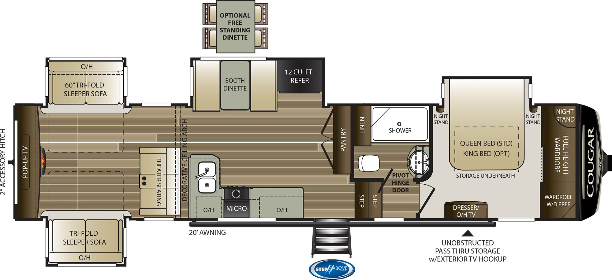 View Floor Plan for 2020 KEYSTONE COUGAR 366RDS