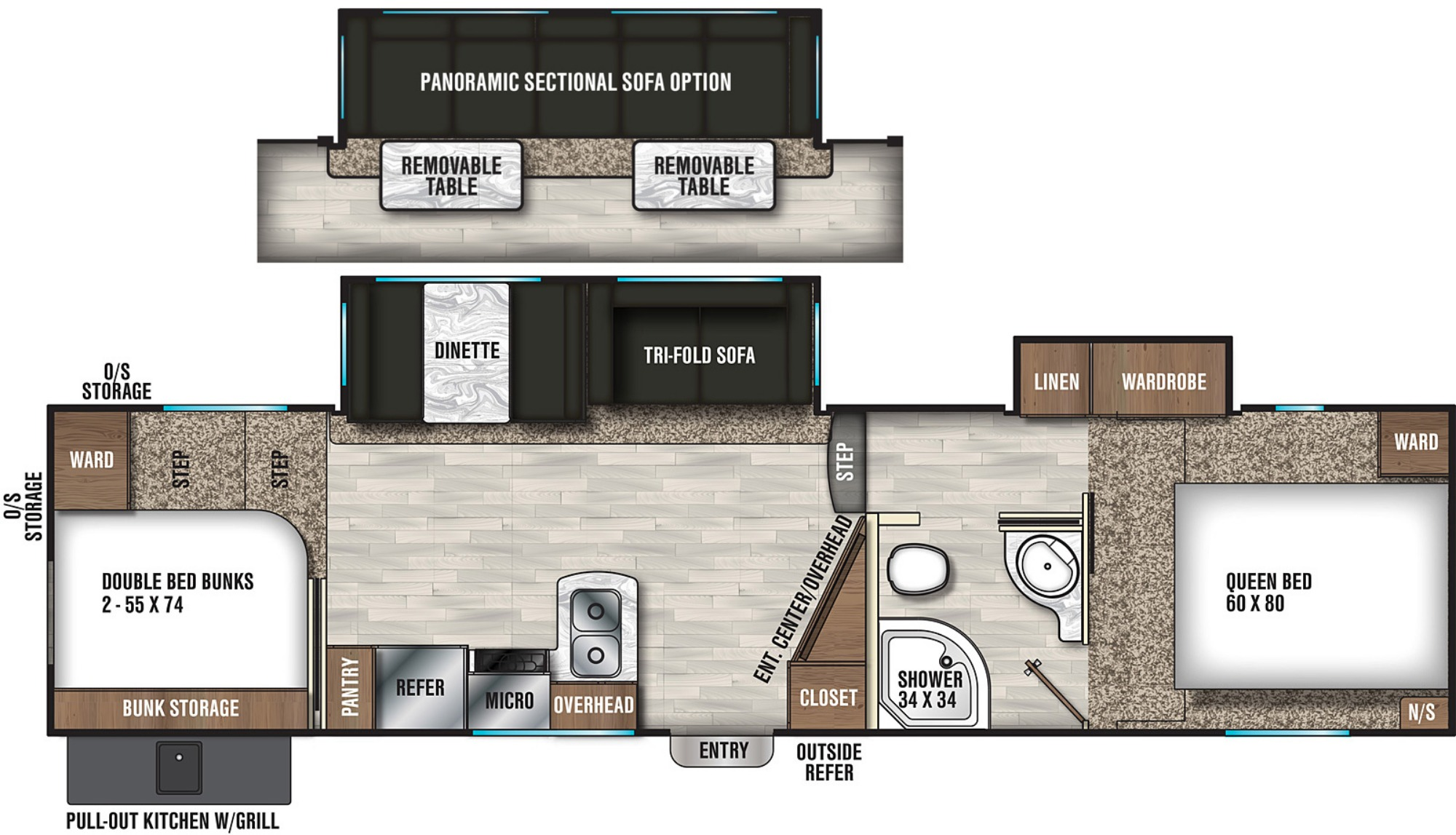 View Floor Plan for 2019 COACHMEN CHAPARRAL X-LITE 295X