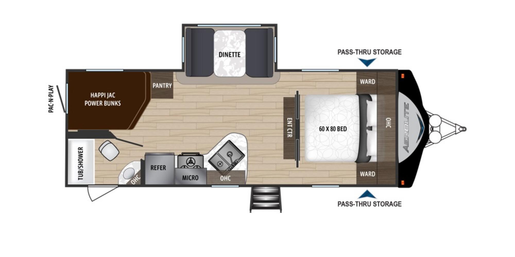 View Floor Plan for 2019 DUTCHMEN AEROLITE 2423BH