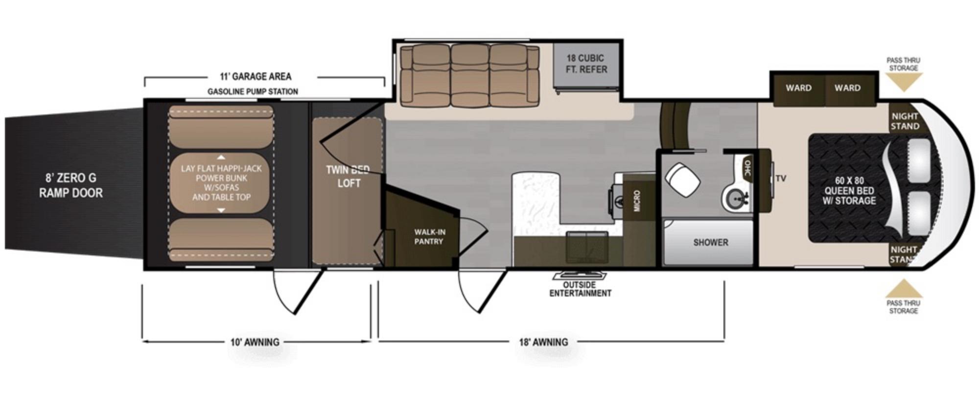 View Floor Plan for 2019 DUTCHMEN VOLTAGE 3705