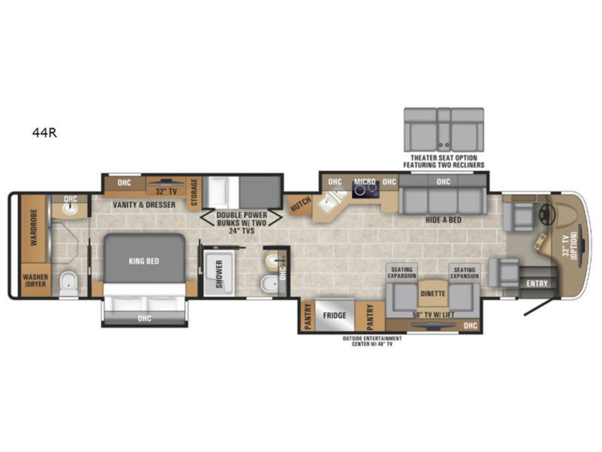 View Floor Plan for 2019 ENTEGRA COACH INSIGNIA 44R