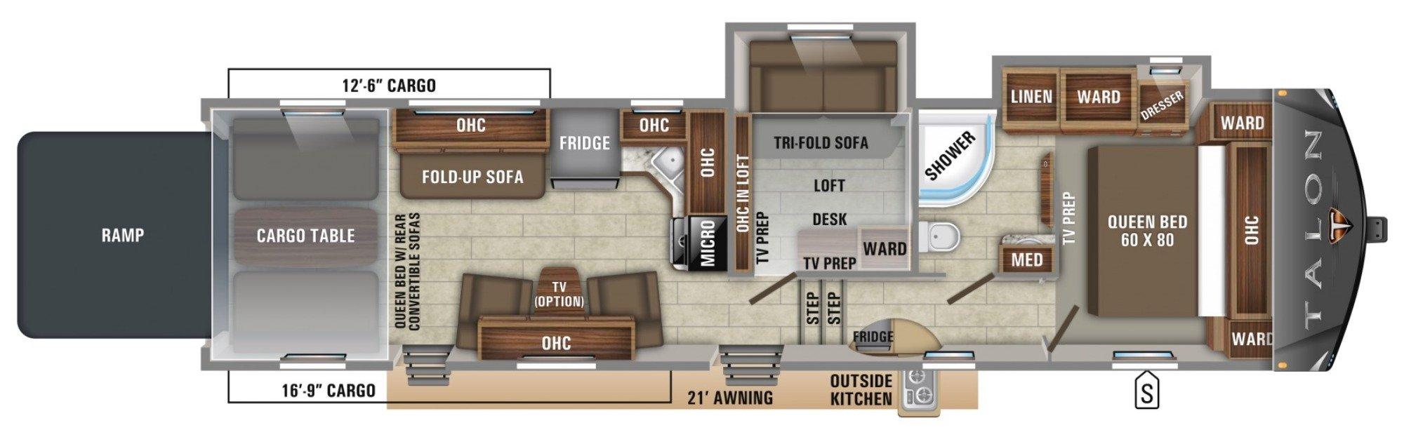 View Floor Plan for 2019 JAYCO TALON 392T