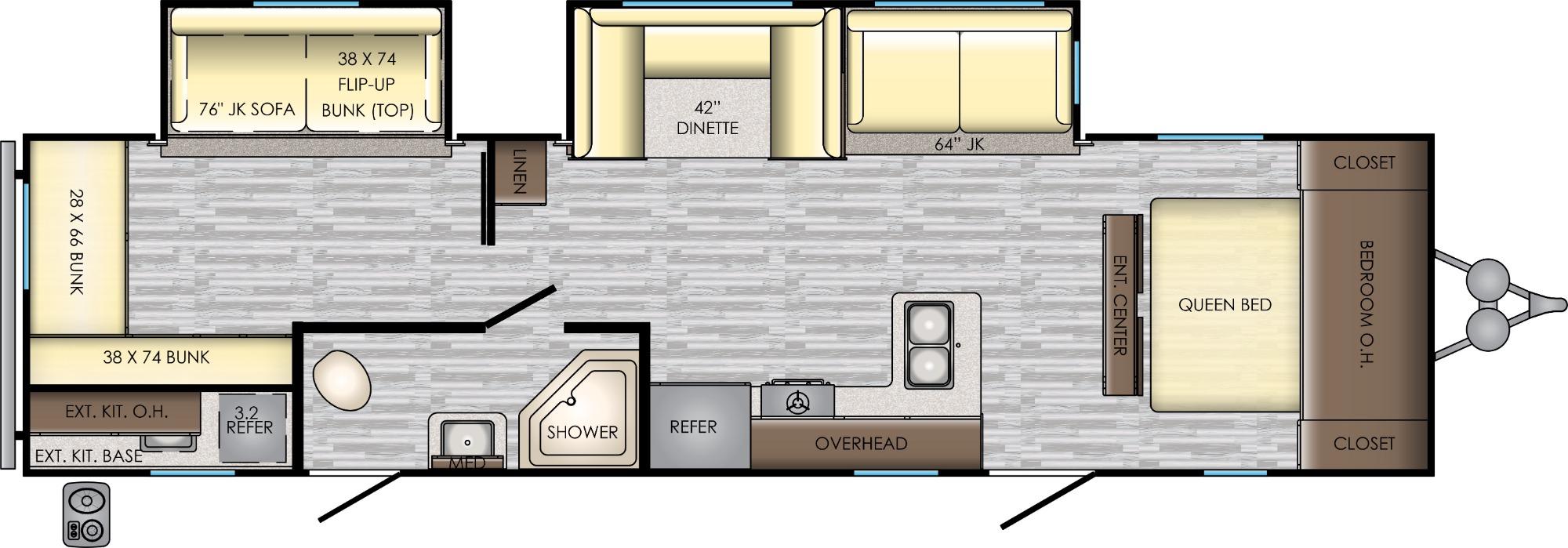 View Floor Plan for 2020 CROSSROADS ZINGER 328SB