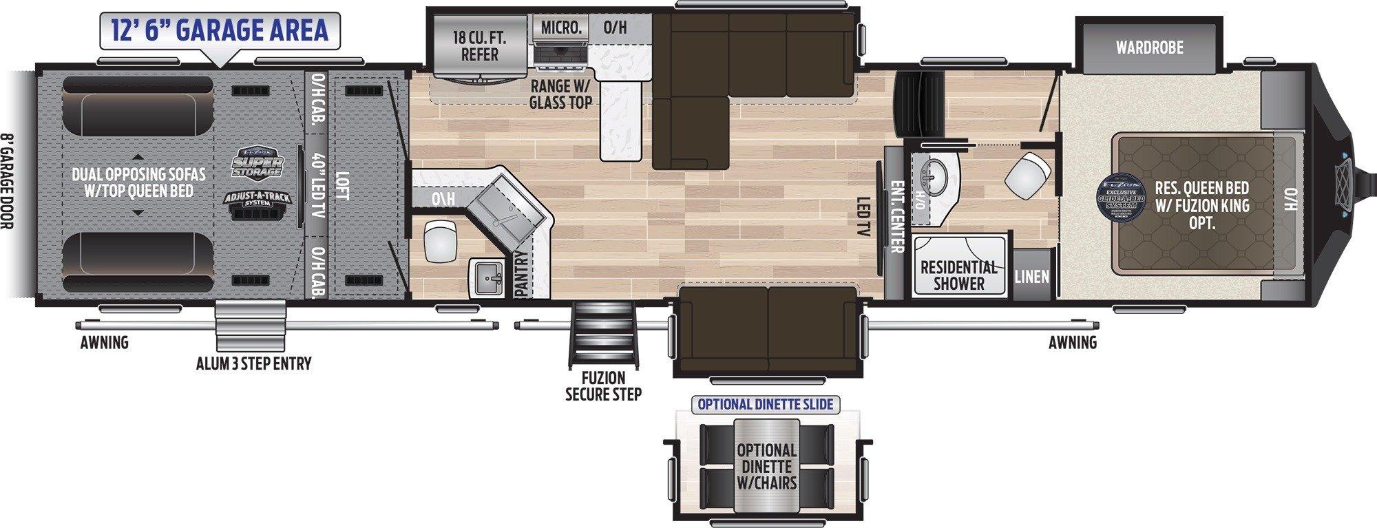 View Floor Plan for 2020 KEYSTONE FUZION 429