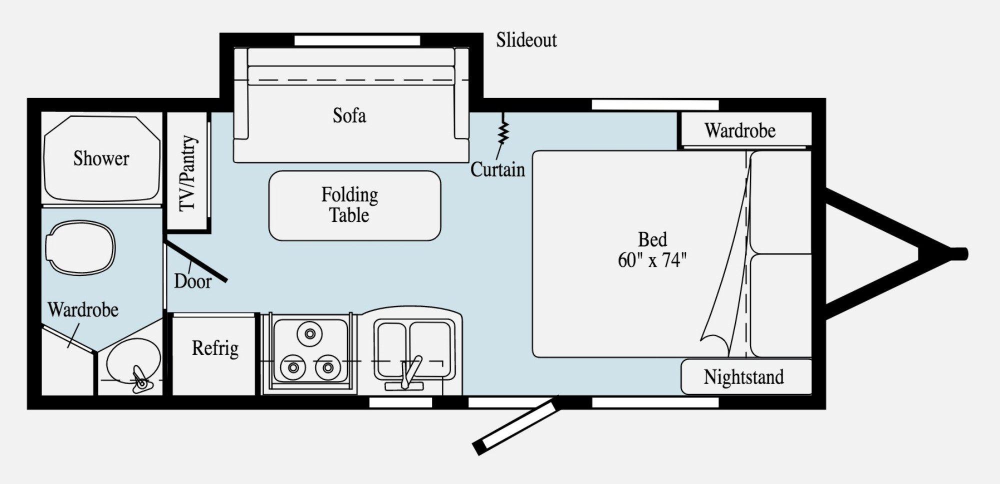 View Floor Plan for 2020 WINNEBAGO MICRO MINNIE 2106FBS