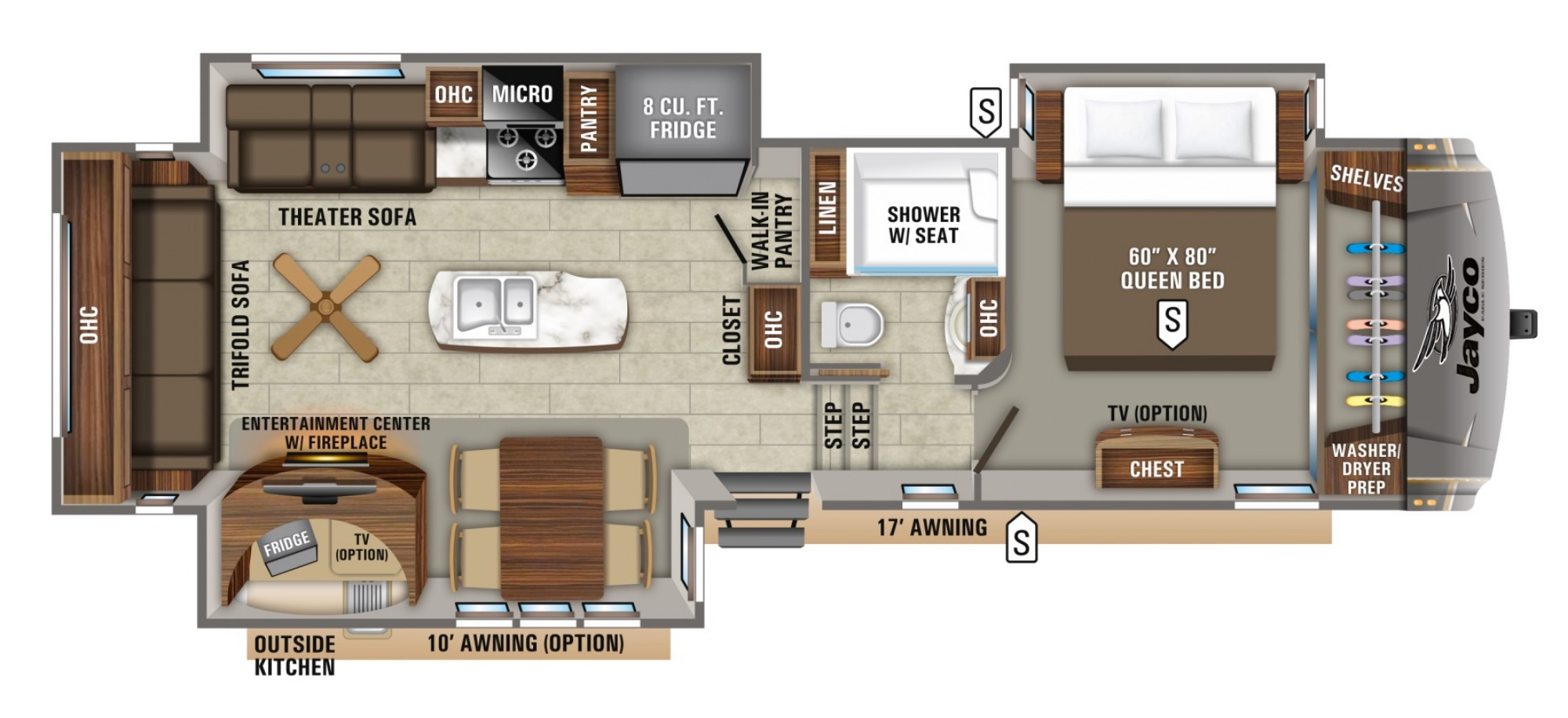 View Floor Plan for 2020 JAYCO EAGLE 317RLOK