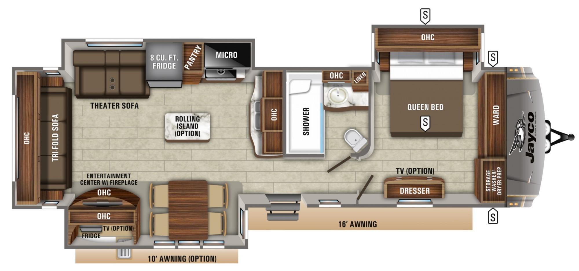 View Floor Plan for 2020 JAYCO EAGLE 322RLOK