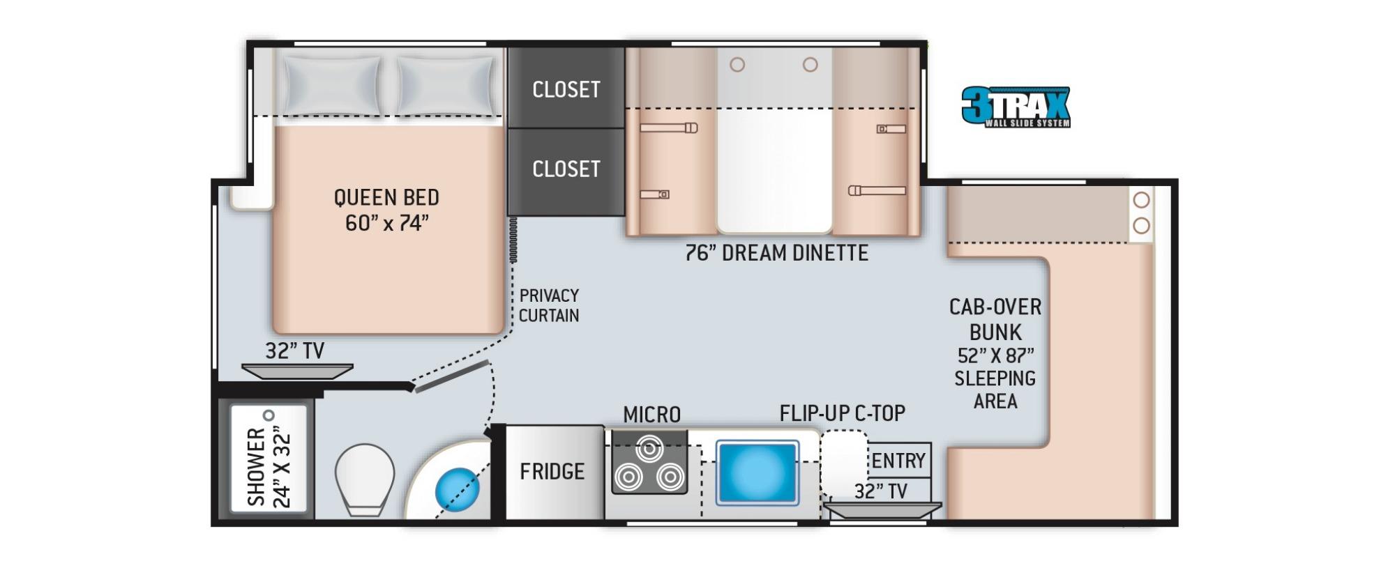 View Floor Plan for 2020 THOR FREEDOM ELITE 24FE