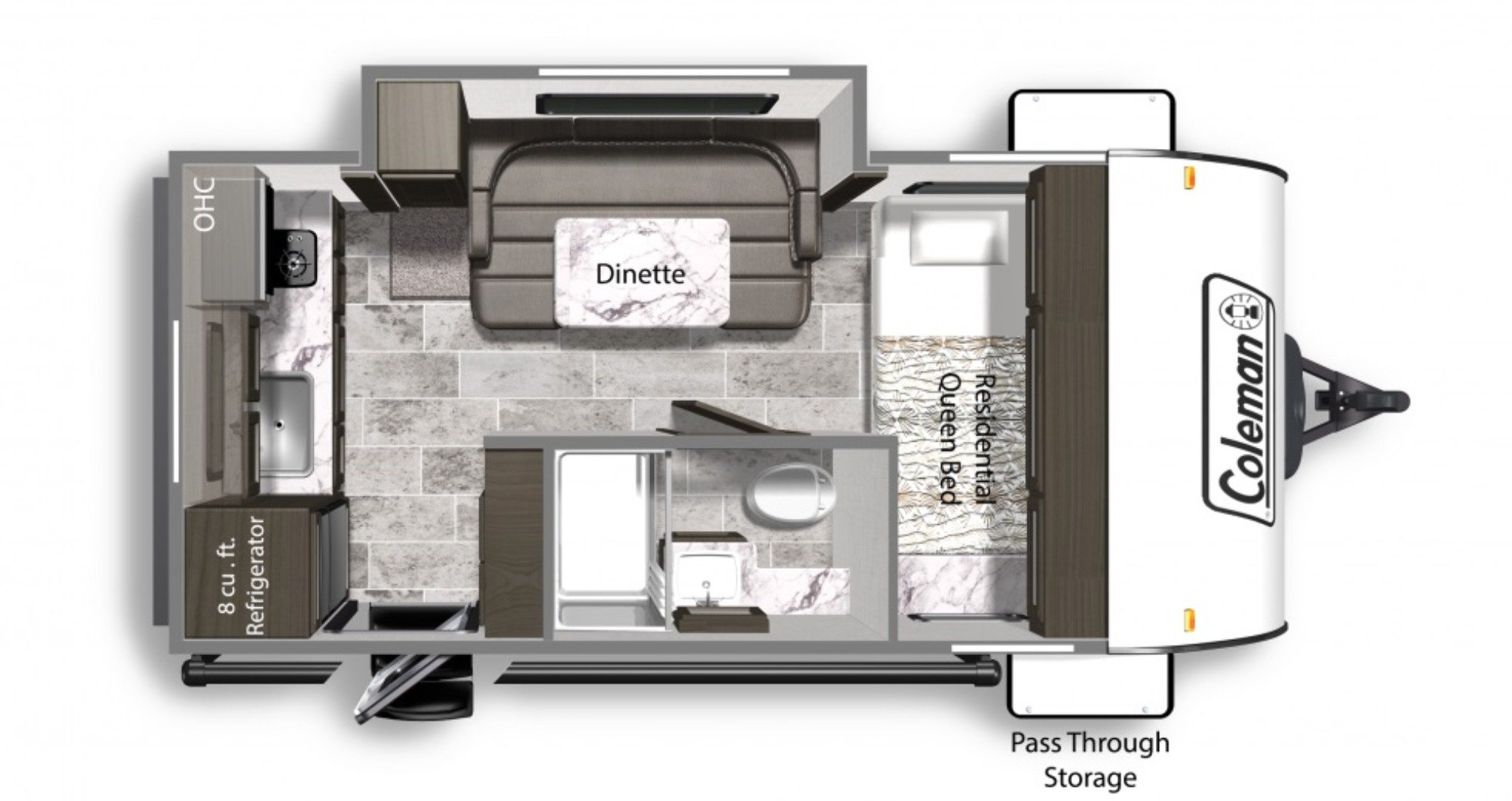 View Floor Plan for 2020 COLEMAN COLEMAN LIGHT LX 1605FB