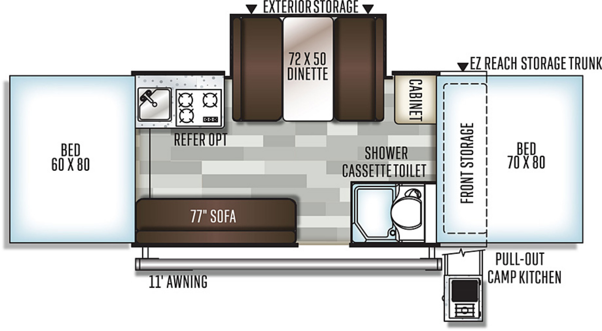 View Floor Plan for 2020 FOREST RIVER FLAGSTAFF CLASSIC 625D