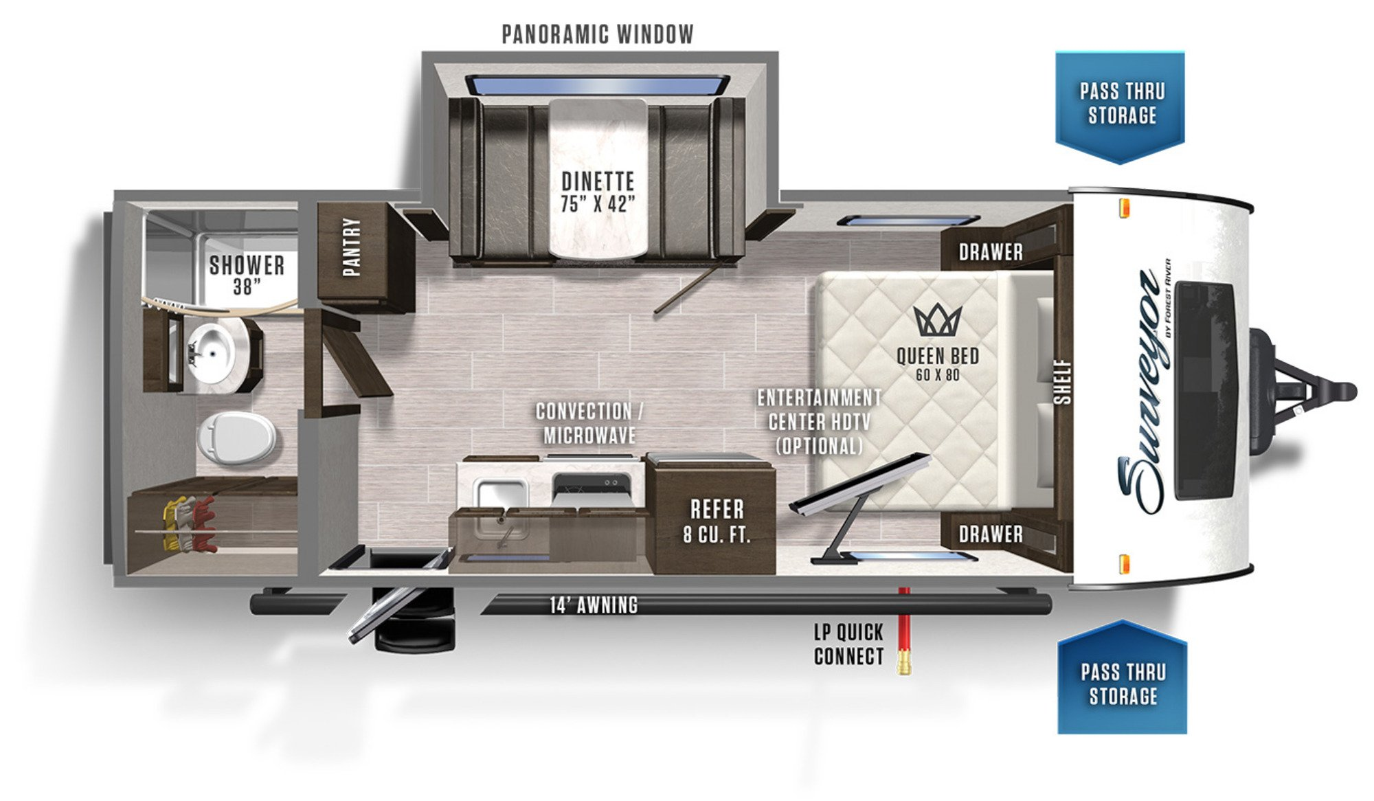 View Floor Plan for 2020 FOREST RIVER SURVEYOR 19RBLE