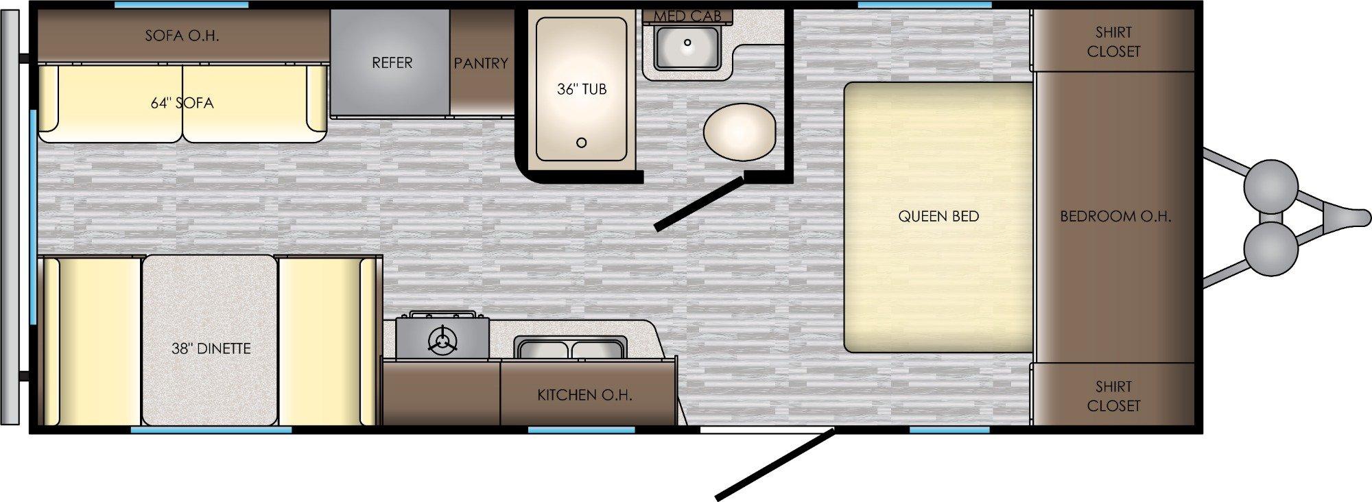 View Floor Plan for 2020 CROSSROADS ZINGER 211RD