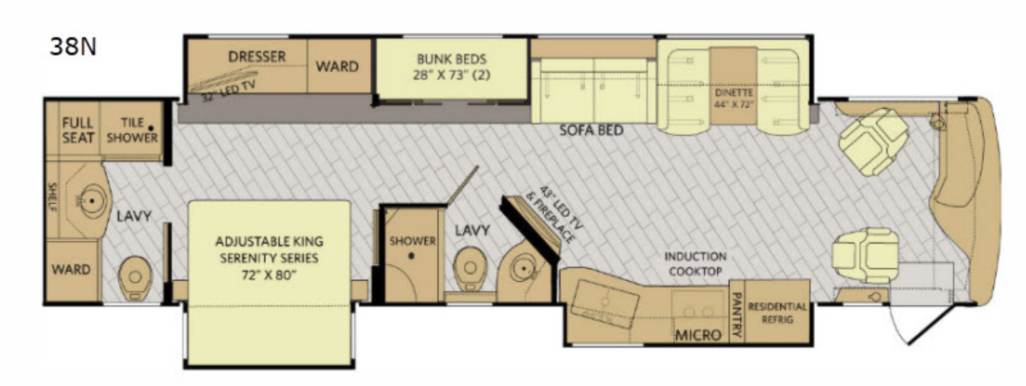 View Floor Plan for 2020 FLEETWOOD DISCOVERY 38N