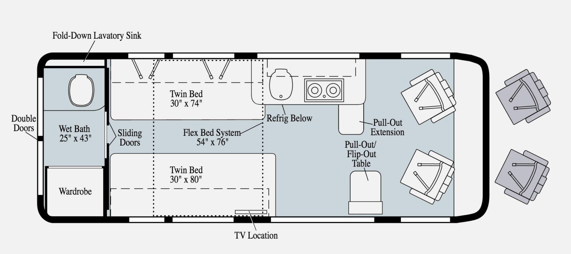 View Floor Plan for 2021 WINNEBAGO TRAVATO 59KL