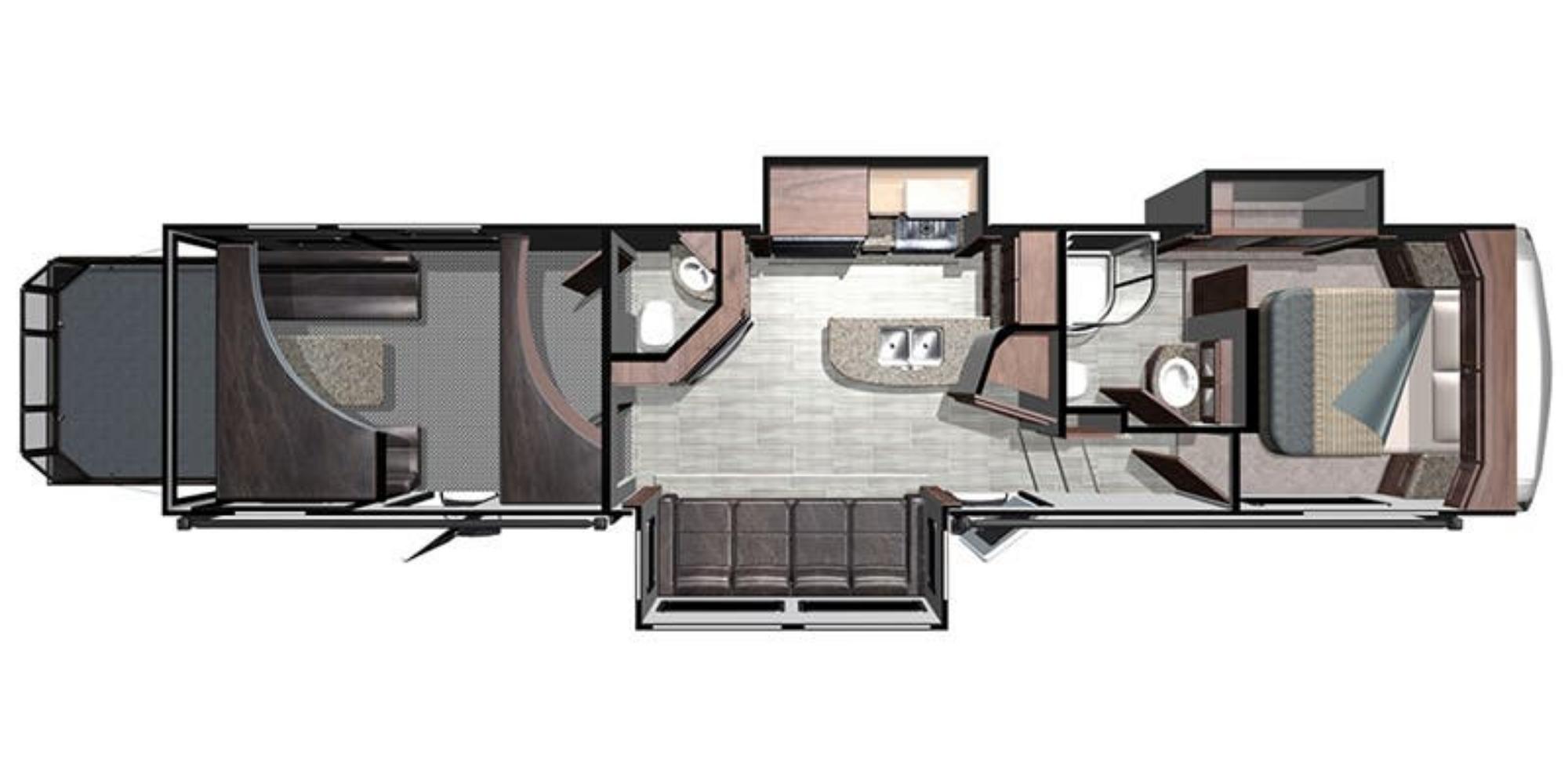 View Floor Plan for 2020 HIGHLAND RIDGE HIGHLANDER 350H