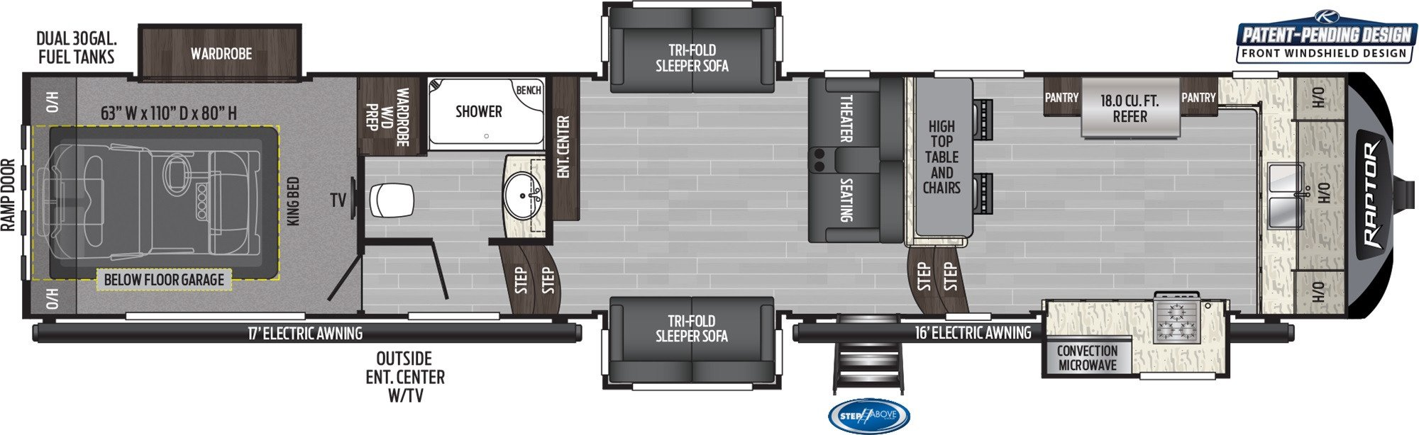 View Floor Plan for 2020 KEYSTONE RAPTOR 427