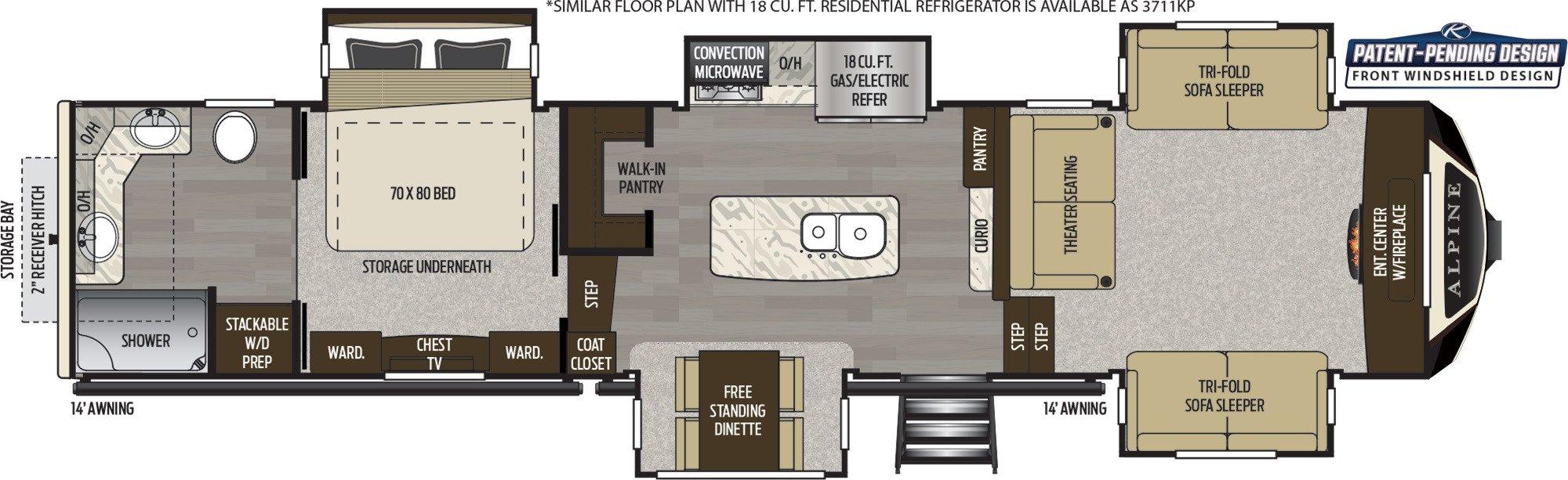 View Floor Plan for 2020 KEYSTONE ALPINE 3710KP