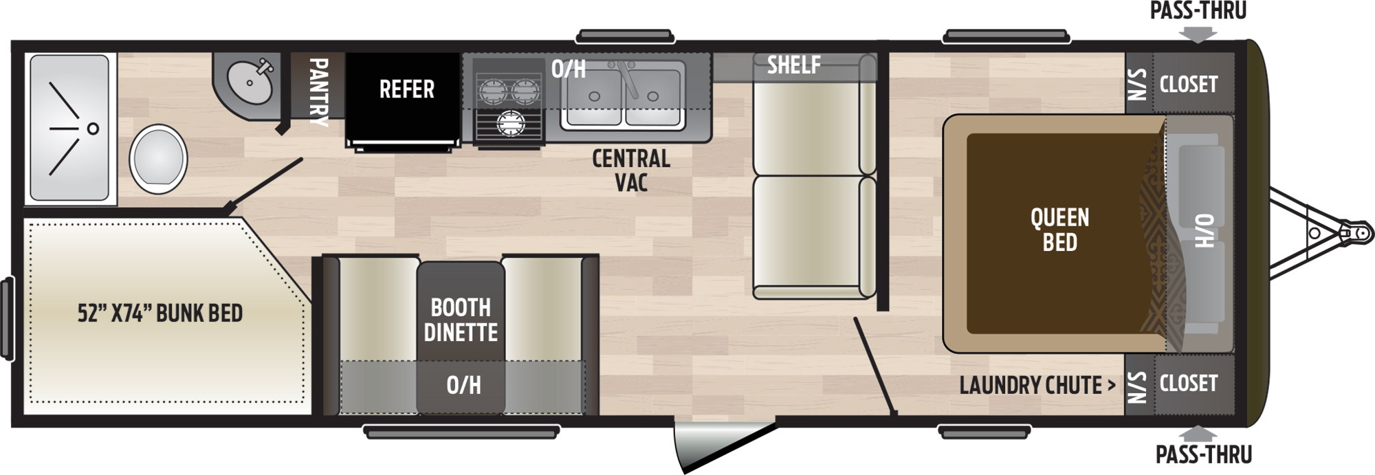 View Floor Plan for 2020 KEYSTONE HIDEOUT 262LHS