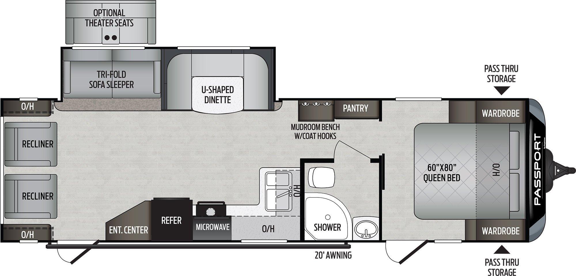 View Floor Plan for 2020 KEYSTONE PASSPORT 2900RL