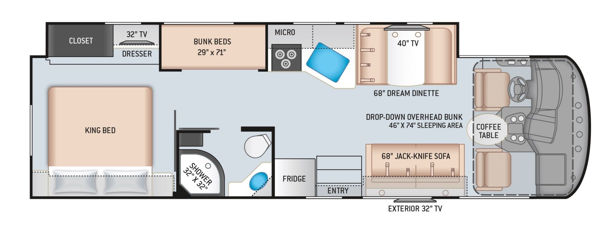 View Floor Plan for 2020 THOR FREEDOM TRAVELER A32