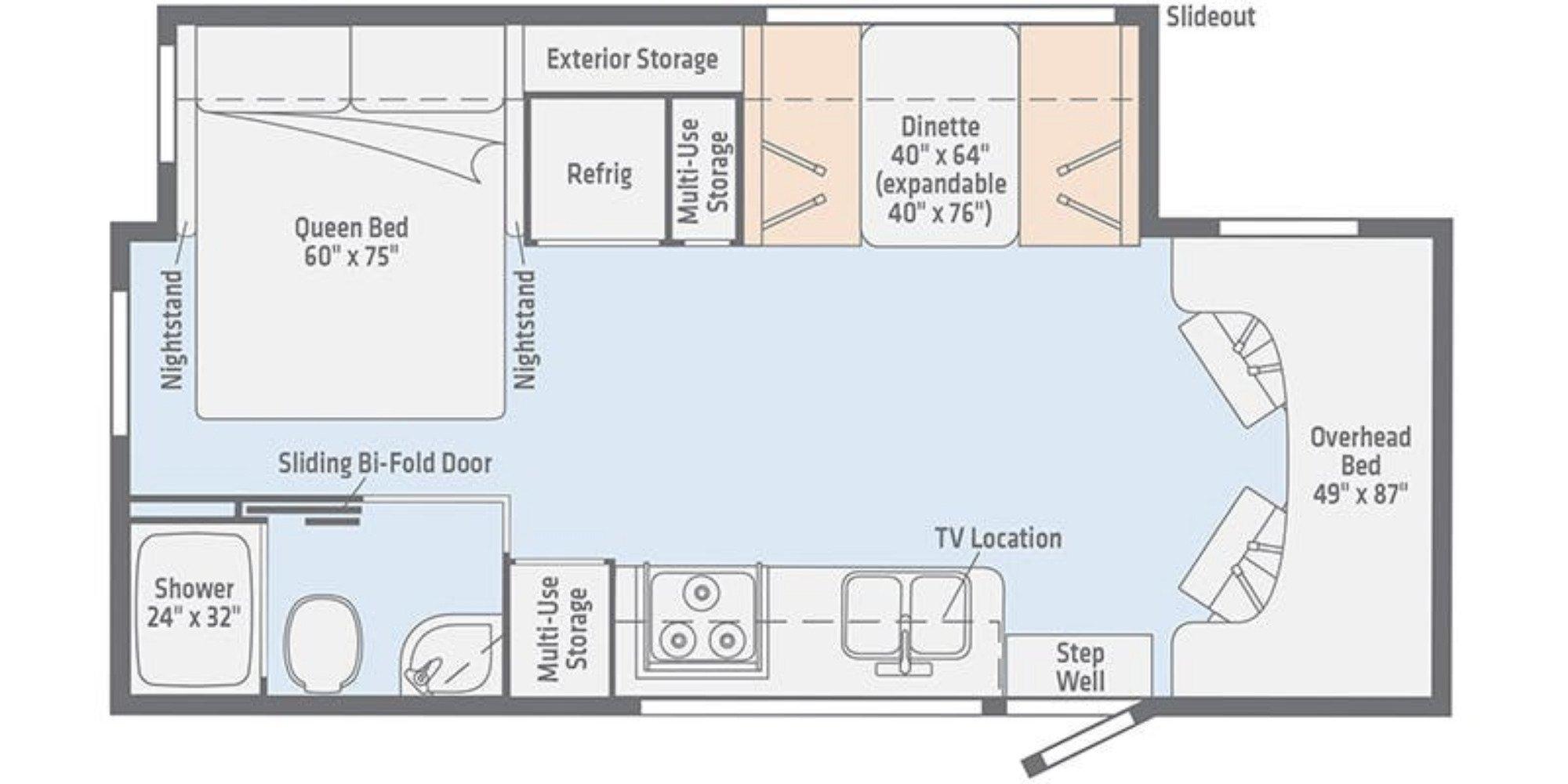 View Floor Plan for 2020 WINNEBAGO VITA 24P