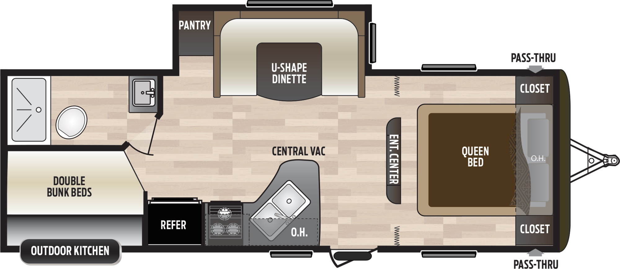 View Floor Plan for 2020 KEYSTONE HIDEOUT 245LHSWE