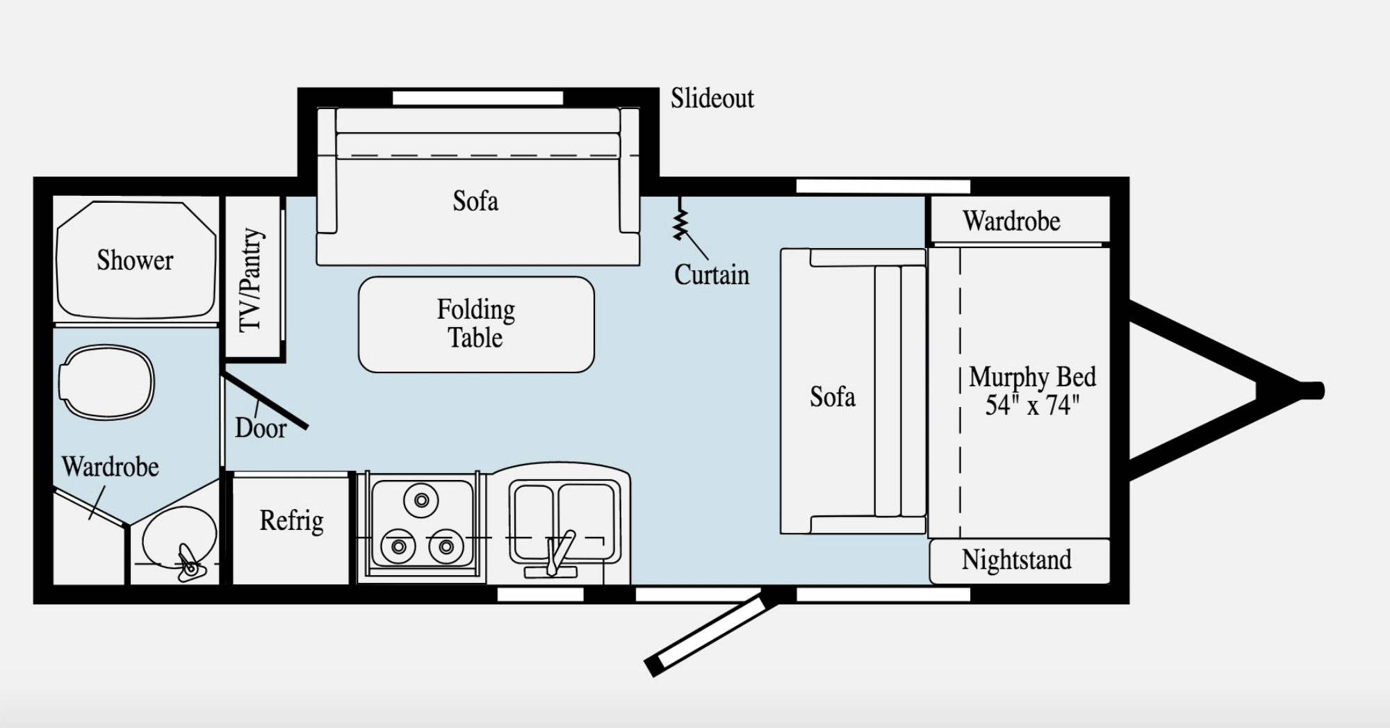 View Floor Plan for 2020 WINNEBAGO MICRO MINNIE 2106DS