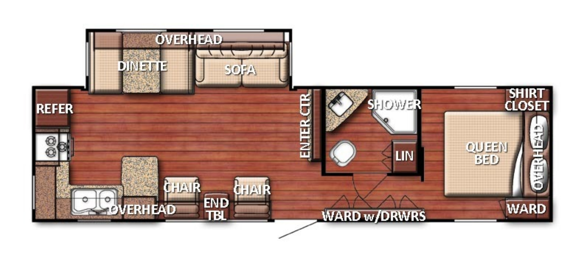 View Floor Plan for 2020 GULF STREAM CONQUEST 295SBW