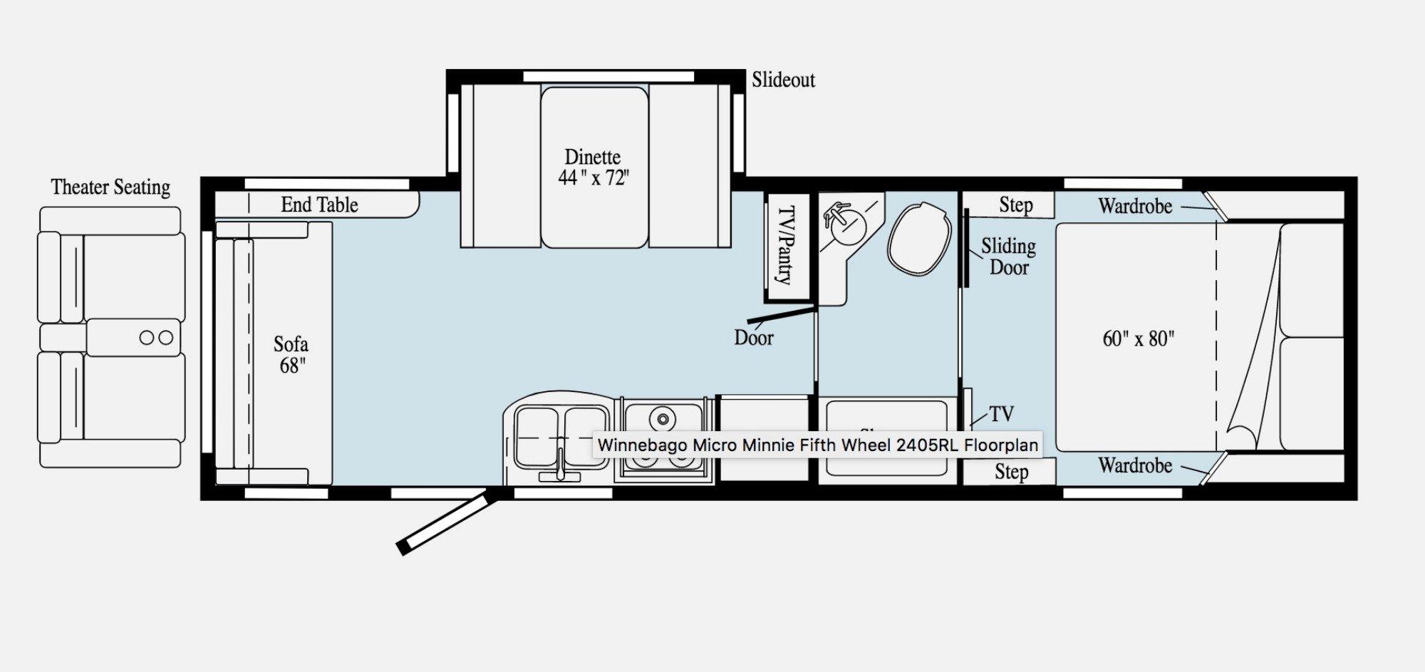 View Floor Plan for 2020 WINNEBAGO MICRO MINNIE 2405RL