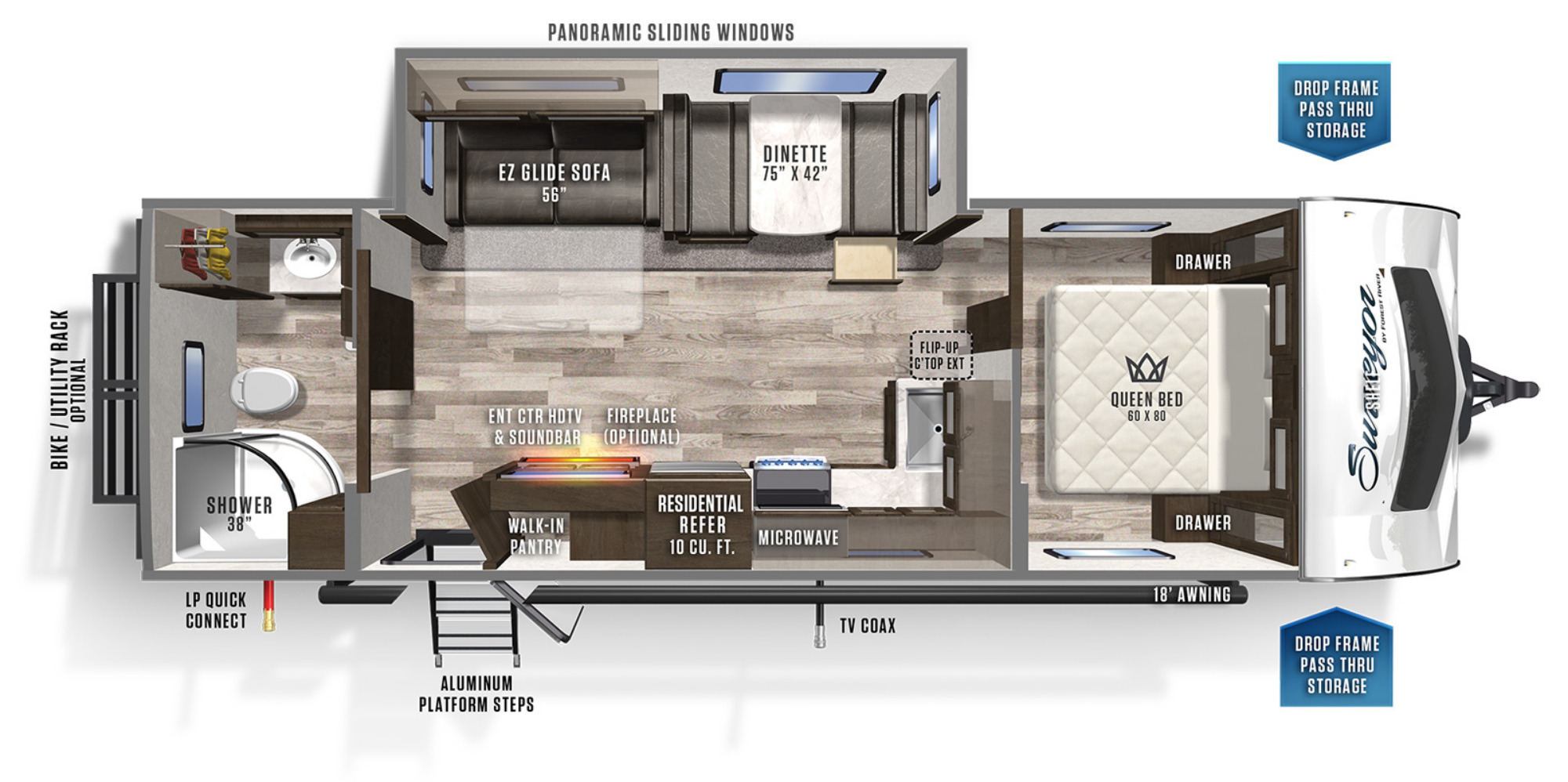 View Floor Plan for 2020 FOREST RIVER SURVEYOR 267RBSS