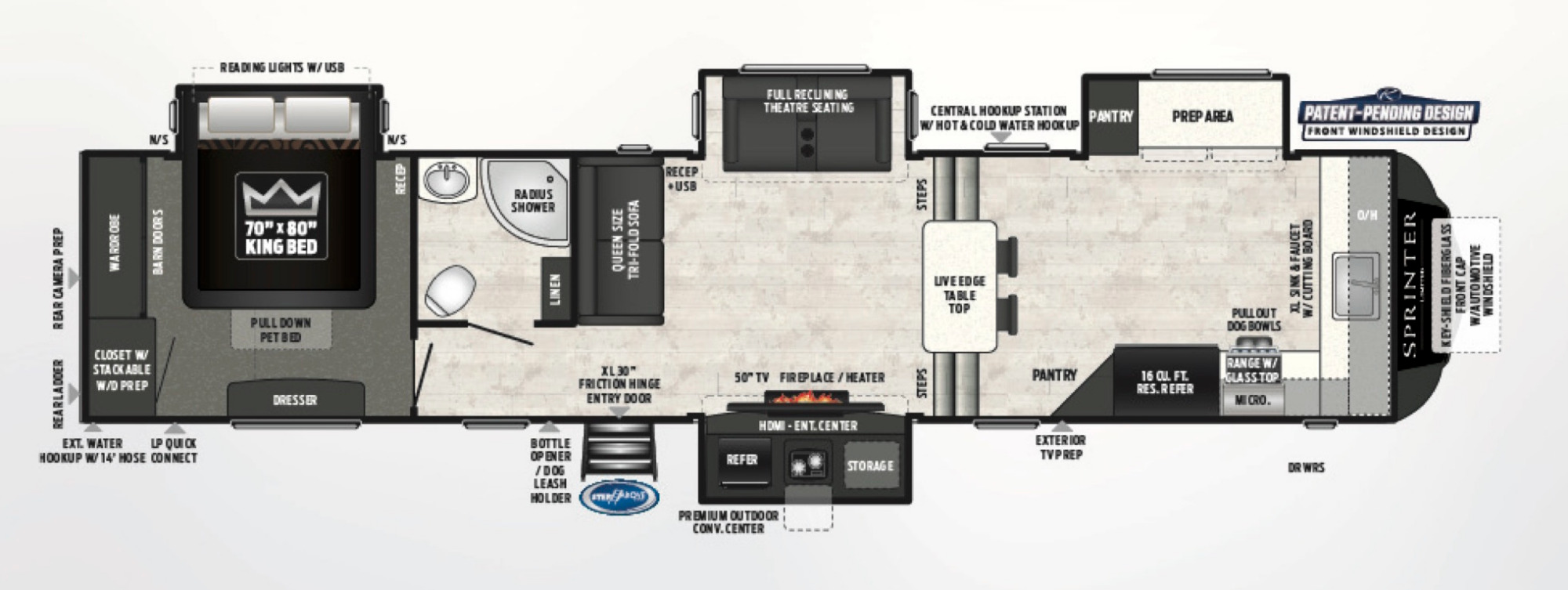 View Floor Plan for 2020 KEYSTONE SPRINTER LIMITED 3611FWFKS