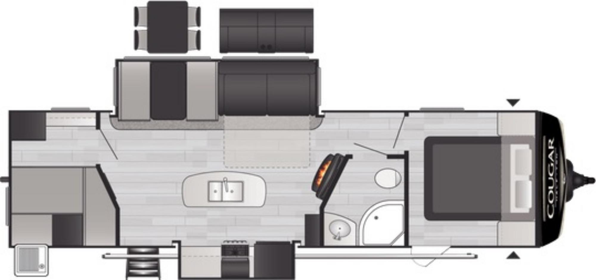 View Floor Plan for 2021 KEYSTONE COUGAR 31BHKWE