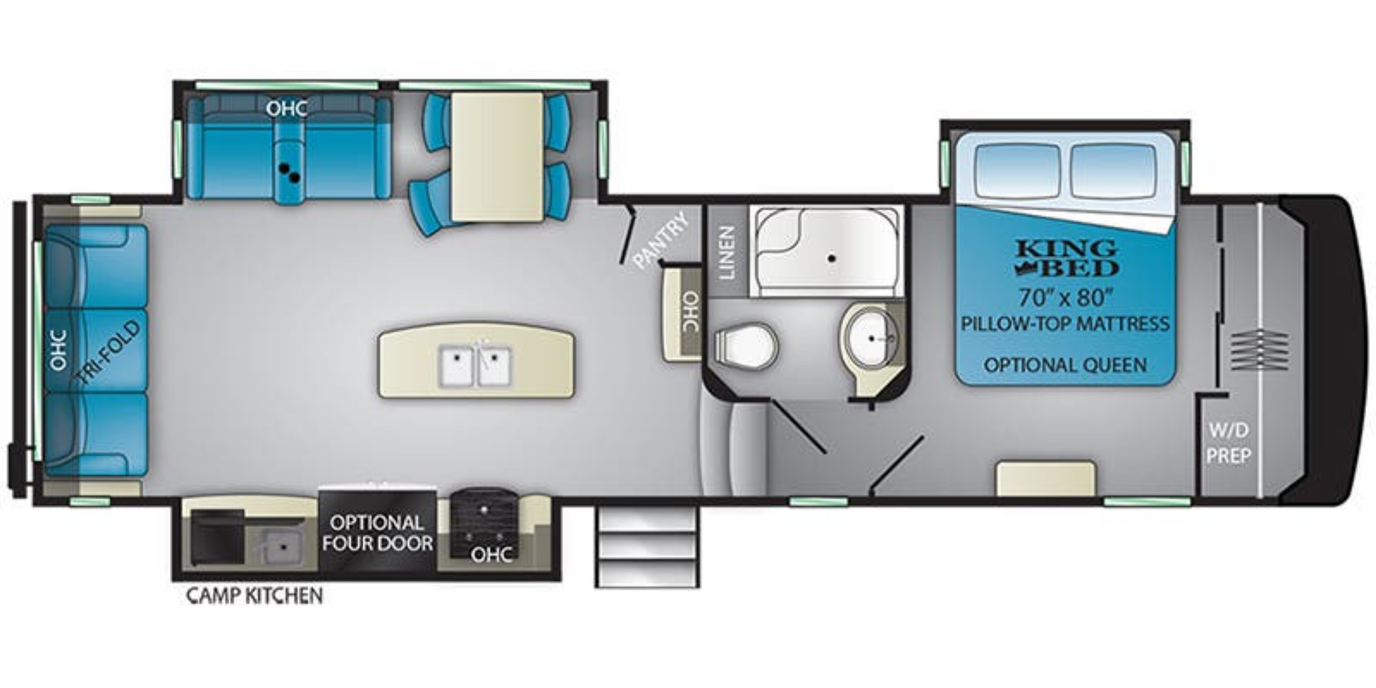 View Floor Plan for 2020 HEARTLAND ELKRIDGE 31RLK