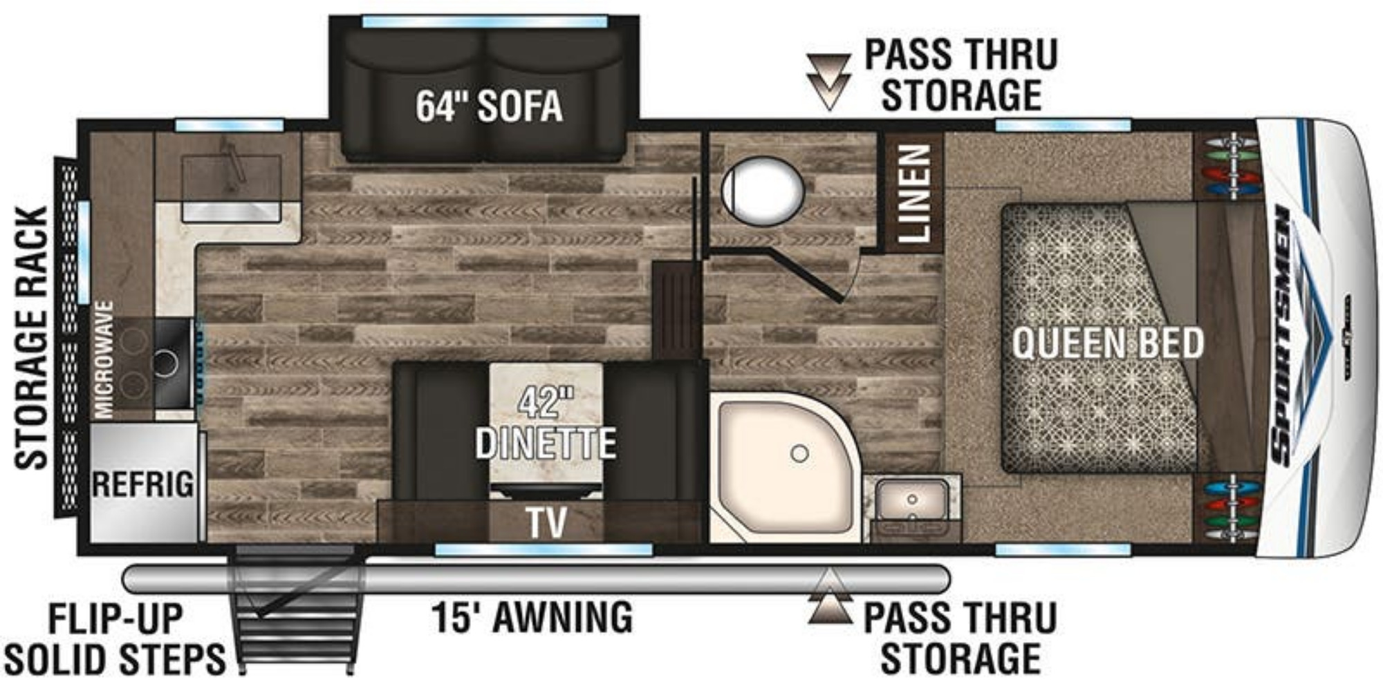 View Floor Plan for 2020 K-Z RV SPORTSMEN 231RK