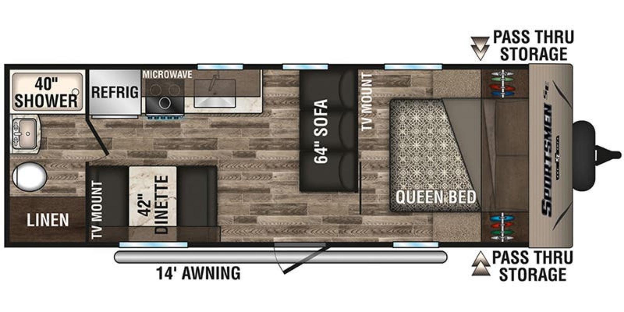 View Floor Plan for 2020 K-Z RV SPORTSMEN SE 240FBSE