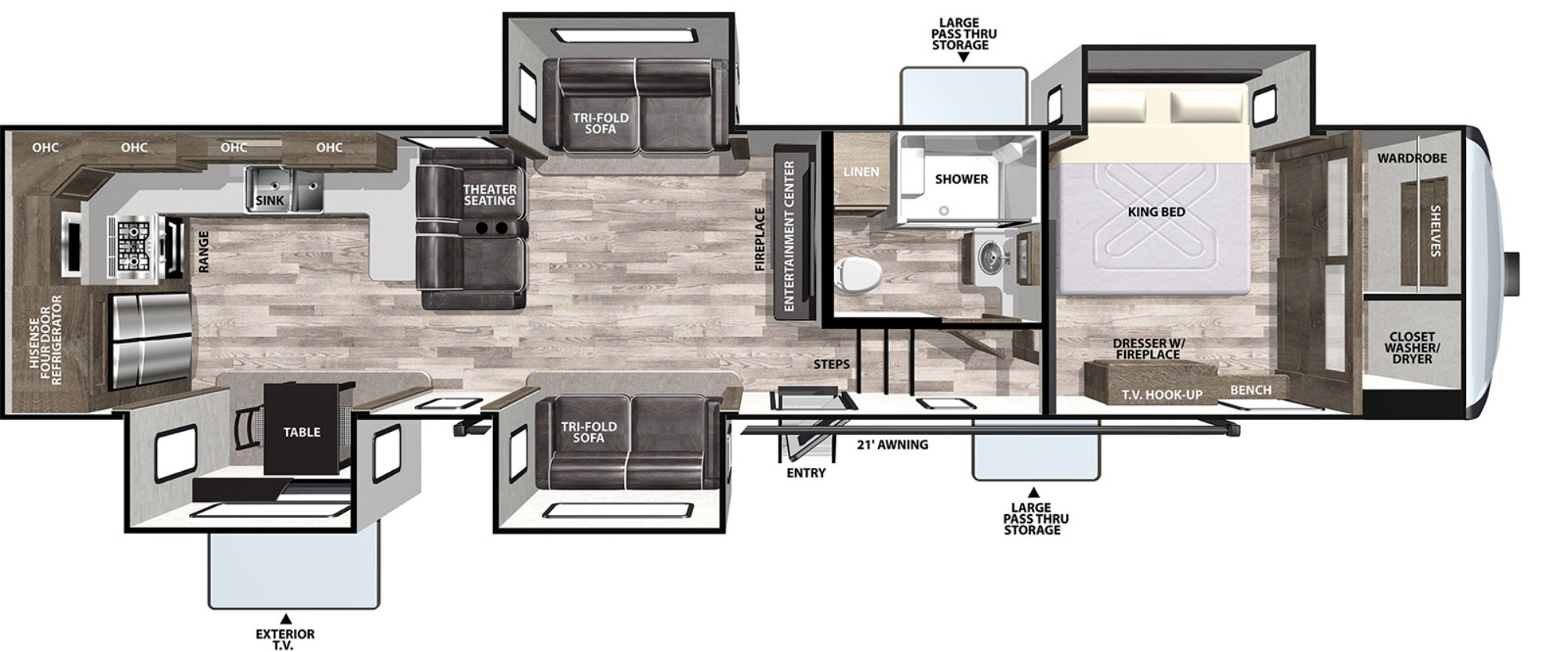 View Floor Plan for 2020 FOREST RIVER CARDINAL LUXURY 375BKX