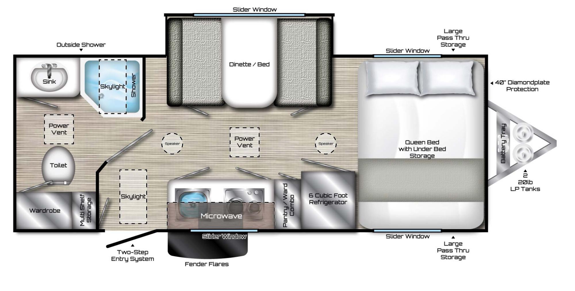 View Floor Plan for 2020 TRAVEL LITE EVOKE X MODEL RX