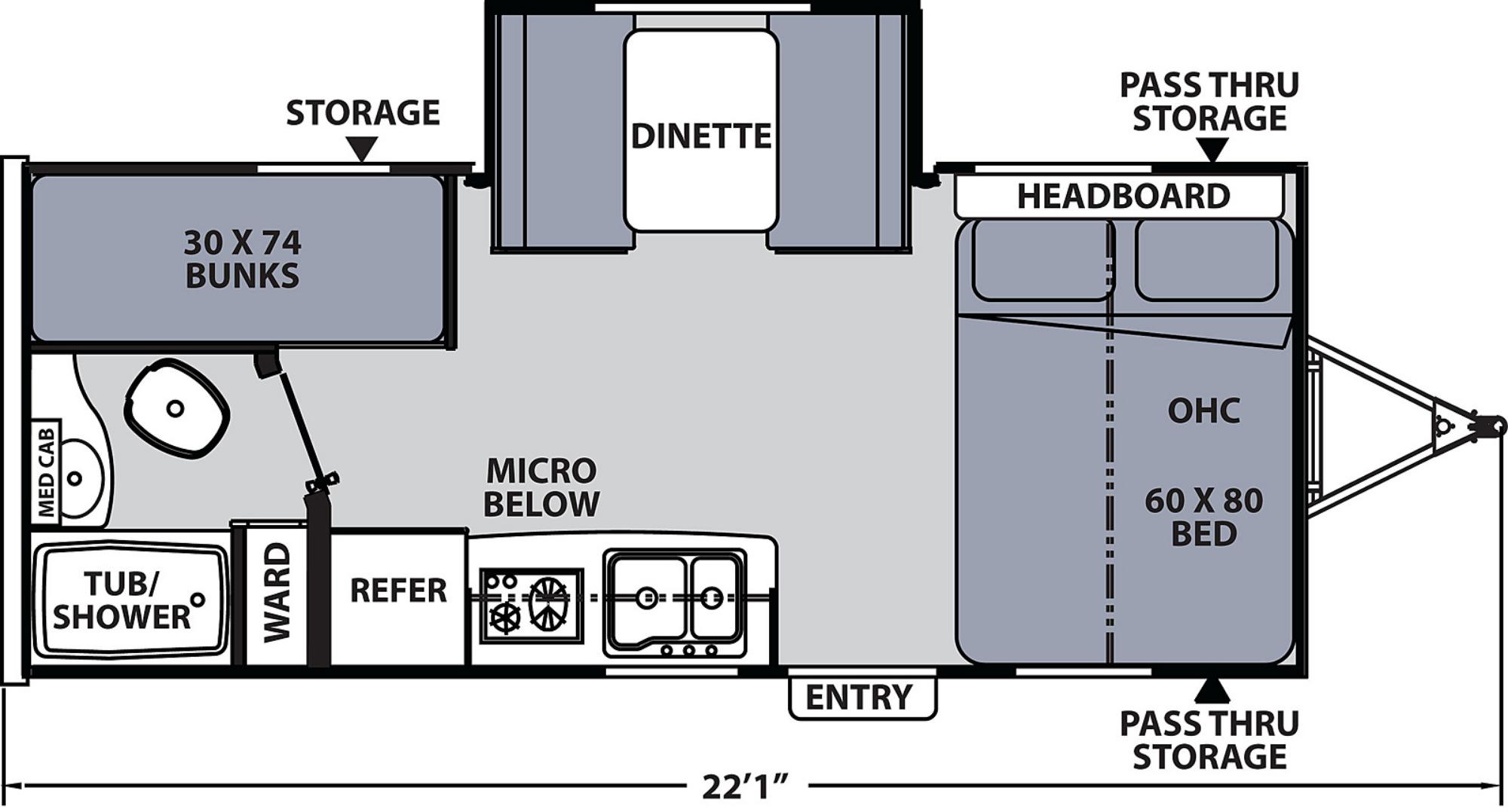 View Floor Plan for 2020 COACHMEN APEX NANO 193BHS