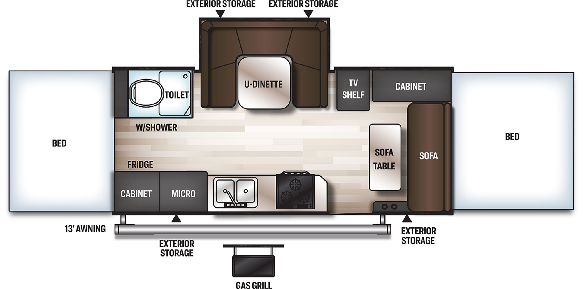 View Floor Plan for 2021 FOREST RIVER ROCKWOOD HIGH WALL HW296