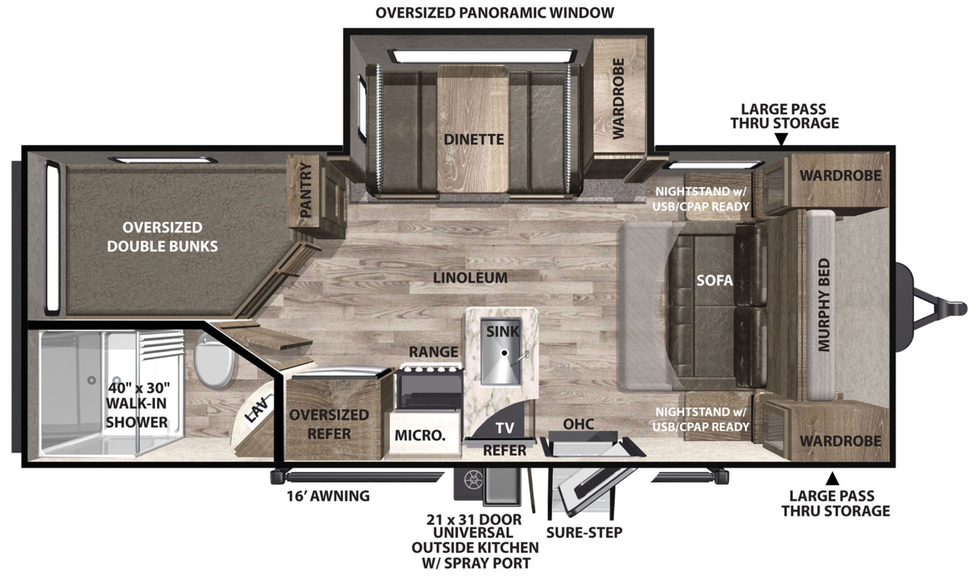View Floor Plan for 2020 FOREST RIVER VIBE 21BH