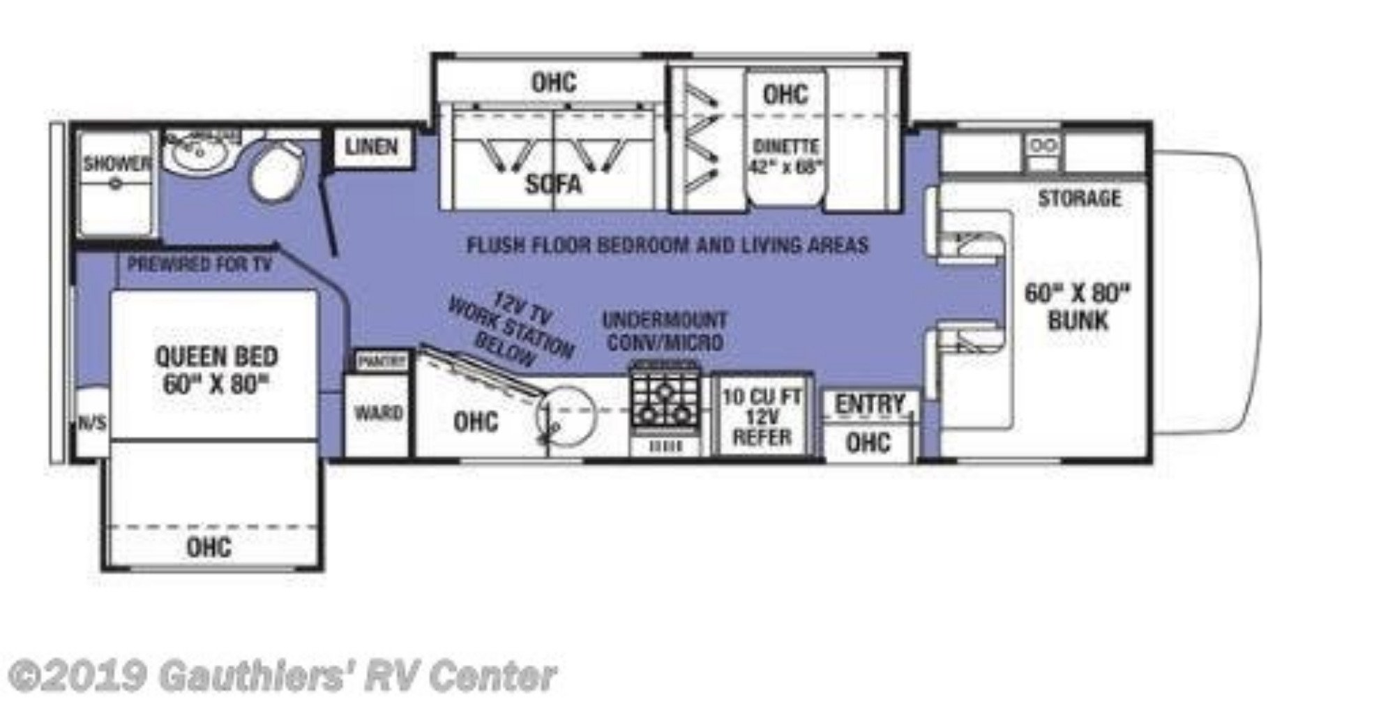 View Floor Plan for 2020 FOREST RIVER SUNSEEKER 2550DSF