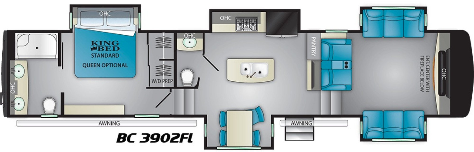 View Floor Plan for 2020 HEARTLAND BIG COUNTRY 3902FL