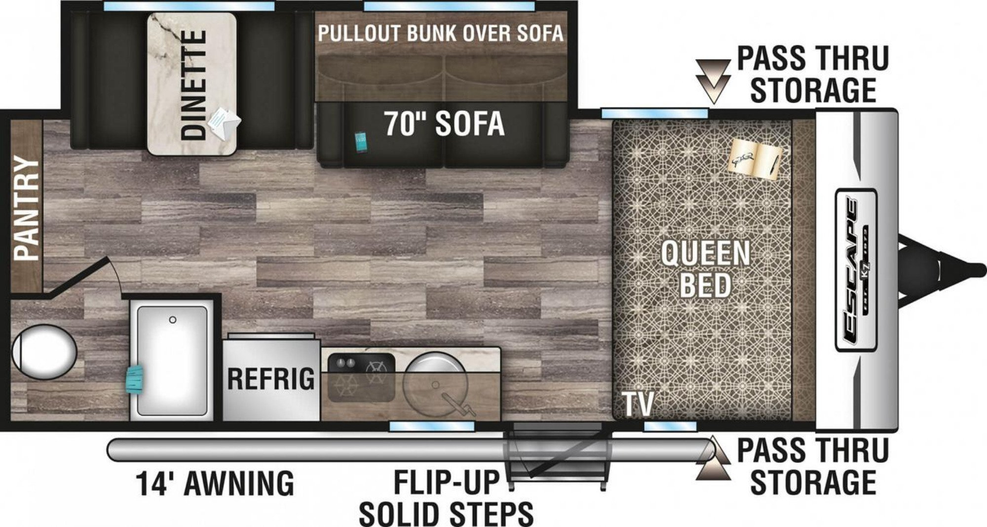 View Floor Plan for 2020 K-Z RV ESCAPE 191SS