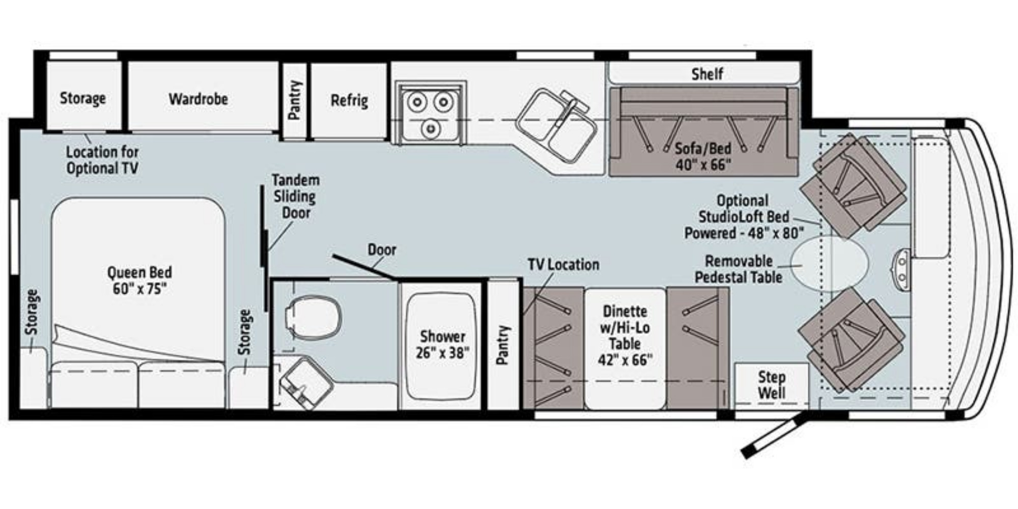 View Floor Plan for 2021 WINNEBAGO SUNSTAR 29V