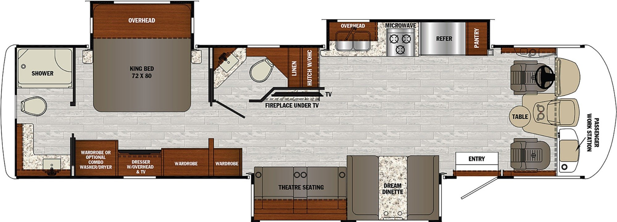 View Floor Plan for 2021 FOREST RIVER GEORGETOWN 5 SERIES 34H