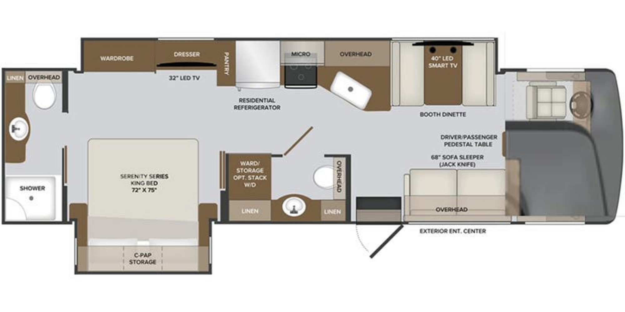 View Floor Plan for 2021 HOLIDAY RAMBLER INVICTA 33HB